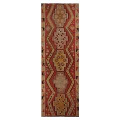 Vintage Kayseri Red and Golden-Yellow Wool Kilim Rug
