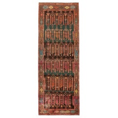 Vintage Kazak Pink and Brown Wool Rug with Forest Green Accents