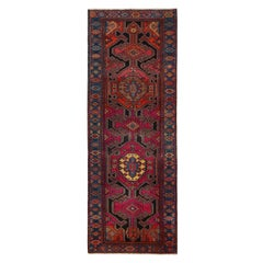 Vintage Kazak Red and Blue Wool Runner