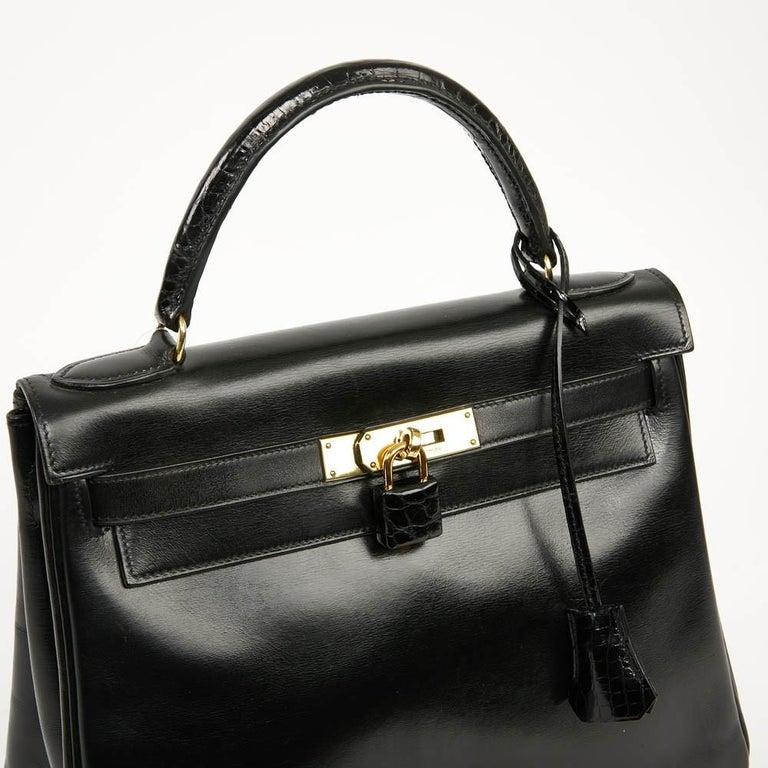Vintage Kelly 28 HERMES  Black Bag Box and  Alligator For Sale 7