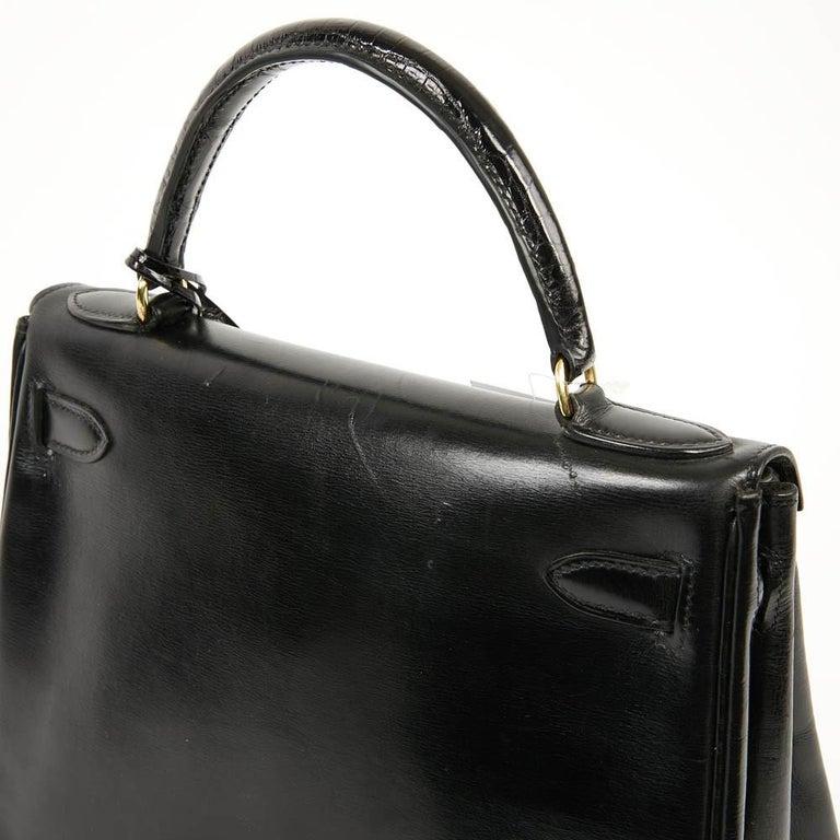Vintage Kelly 28 HERMES  Black Bag Box and  Alligator For Sale 9