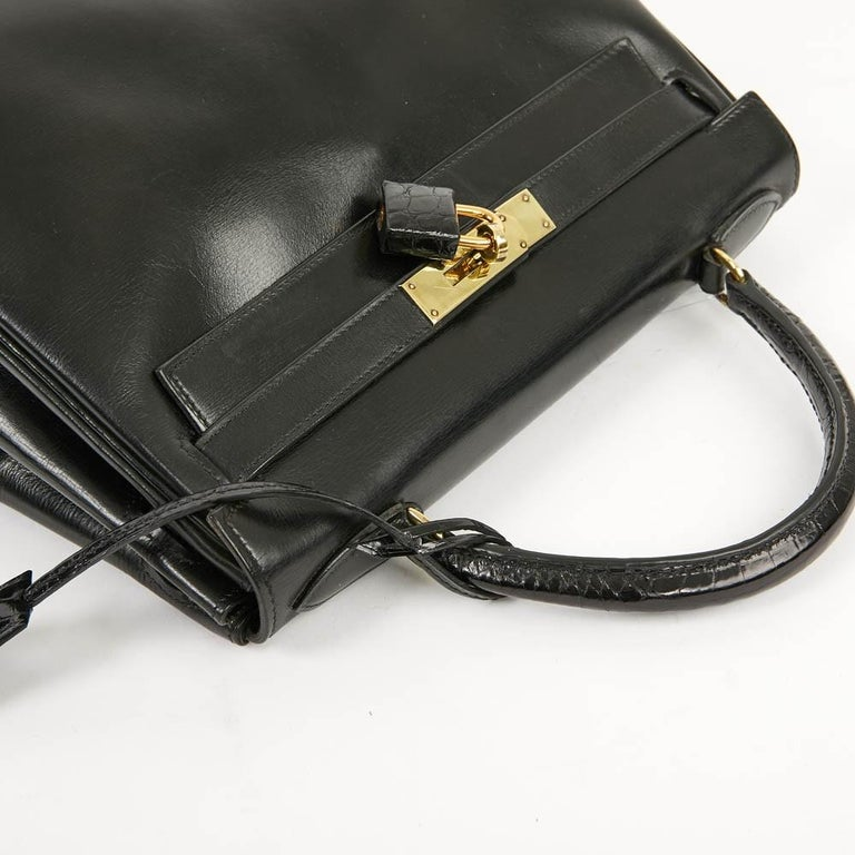 Vintage Kelly 28 HERMES  Black Bag Box and  Alligator For Sale 10