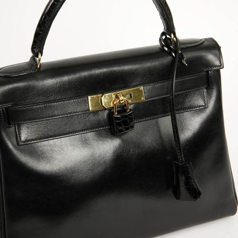 Vintage Kelly 28 HERMES  Black Bag Box and  Alligator For Sale 11