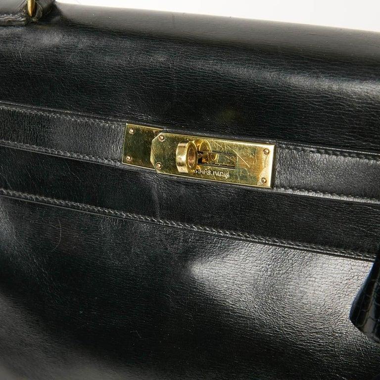 Vintage Kelly 28 HERMES  Black Bag Box and  Alligator For Sale 12