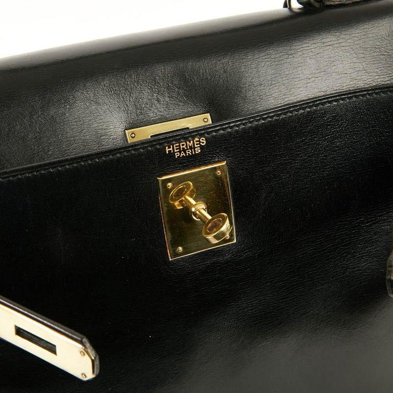 Vintage Kelly 28 HERMES  Black Bag Box and  Alligator For Sale 14