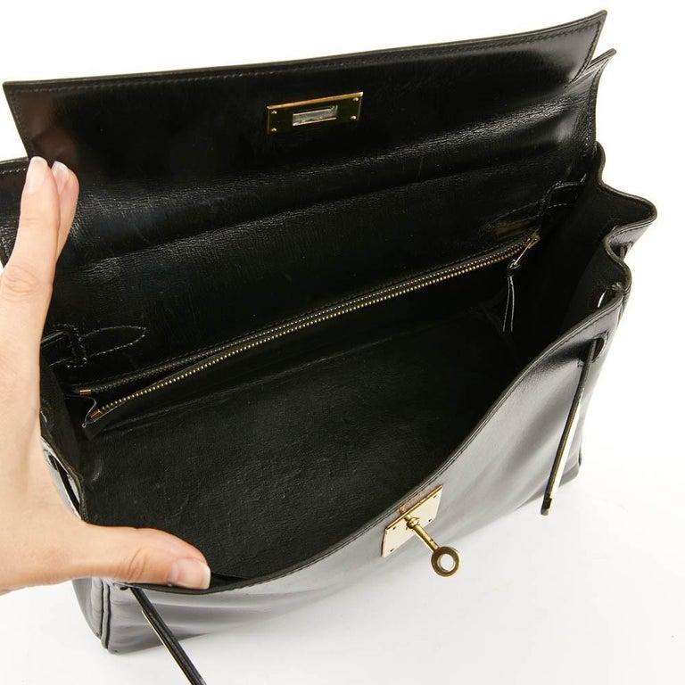 Vintage Kelly 28 HERMES  Black Bag Box and  Alligator For Sale 15