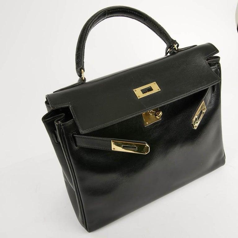 Vintage Kelly 28 HERMES  Black Bag Box and  Alligator For Sale 16