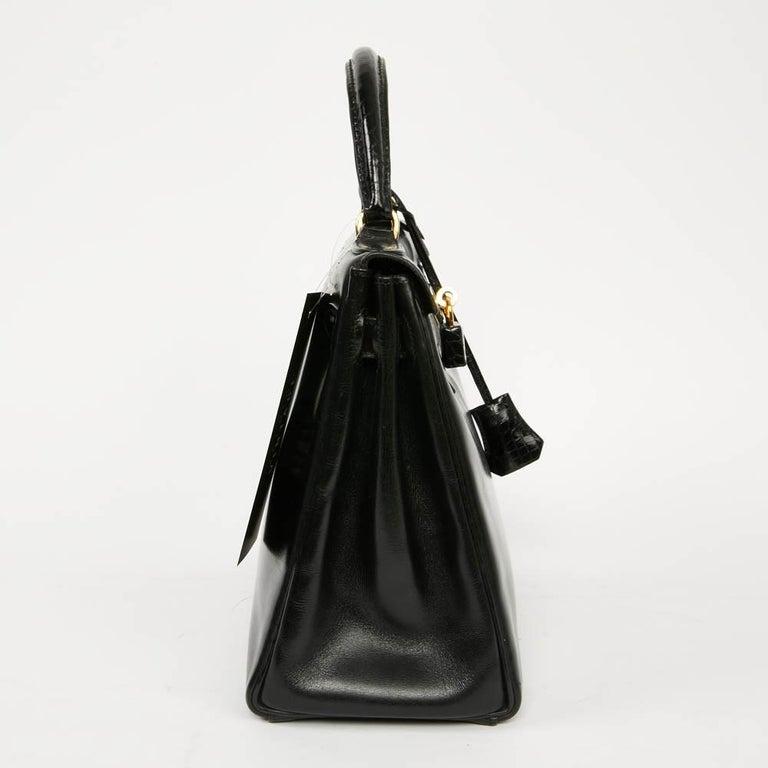 Vintage Kelly 28 HERMES  Black Bag Box and  Alligator In Good Condition For Sale In Paris, FR