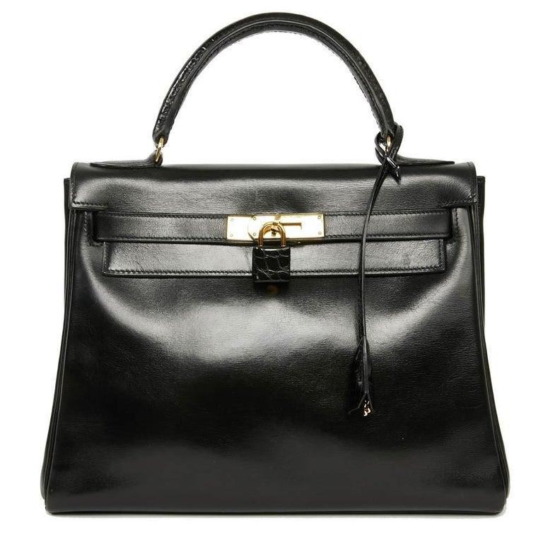 Women's Vintage Kelly 28 HERMES  Black Bag Box and  Alligator For Sale