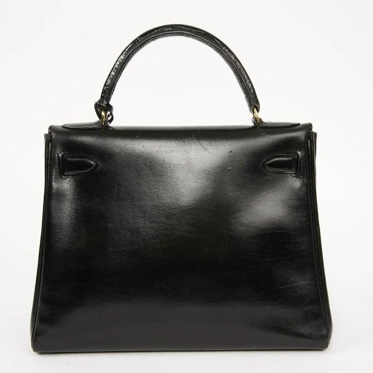 Vintage Kelly 28 HERMES  Black Bag Box and  Alligator For Sale 2