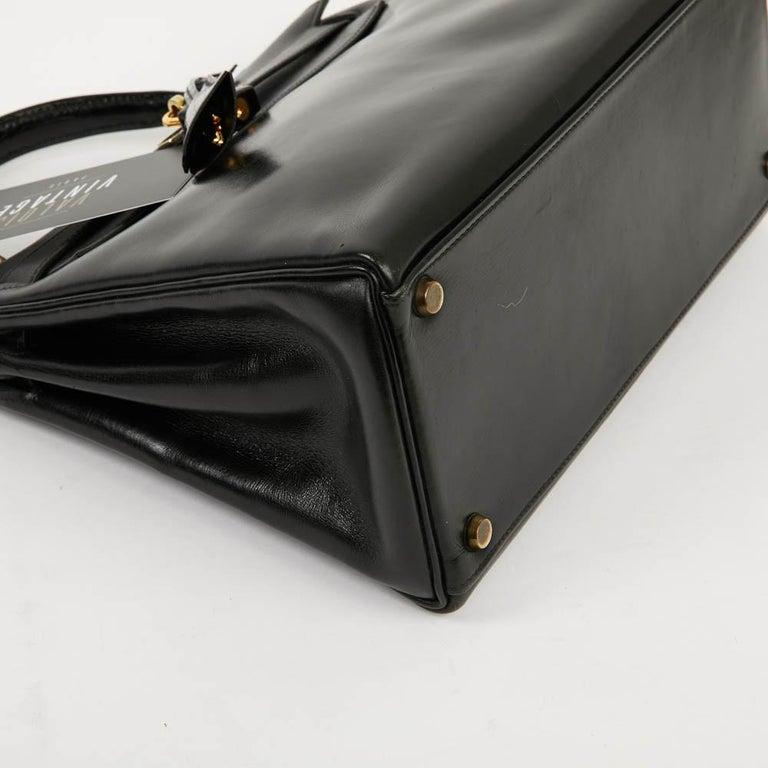 Vintage Kelly 28 HERMES  Black Bag Box and  Alligator For Sale 4