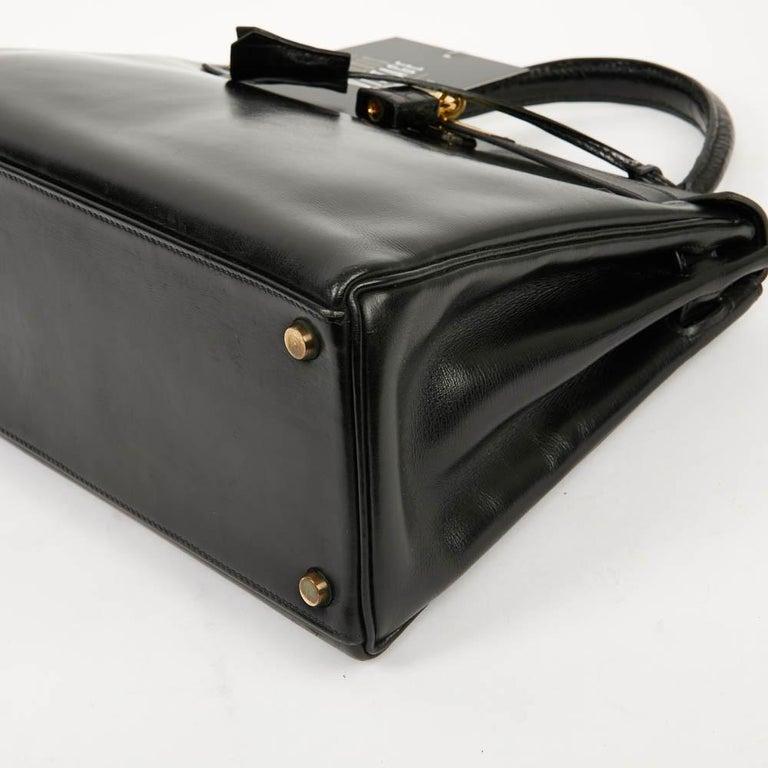 Vintage Kelly 28 HERMES  Black Bag Box and  Alligator For Sale 5