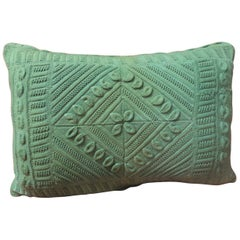 Vintage Kelly Green Crochet Lumbar Decorative Pillow