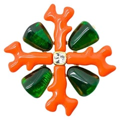 Vintage Kenneth Jay Lane Coral & Emerald Maltese Cross Brooch 1990s