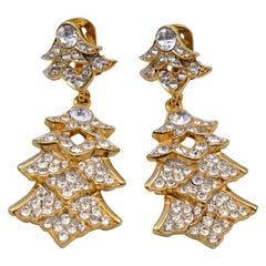 Vintage Kenneth Jay Lane Rhinestones Earrings 1980s