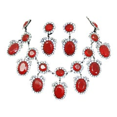 Vintage Kenneth Lane Duchess of Windsor Red Crystal Bib Necklace & Earrings Set