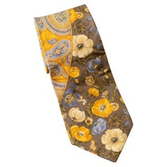 Vintage Kenzo all-silk yellow tie with flowers