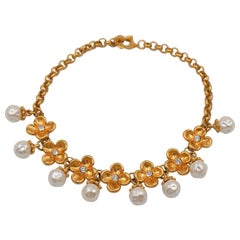 Vintage Kenzo Faux Pearls Pansy Flowers Necklace 1980's