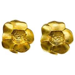 Vintage Kenzo Gold Flower Earrings 1990S