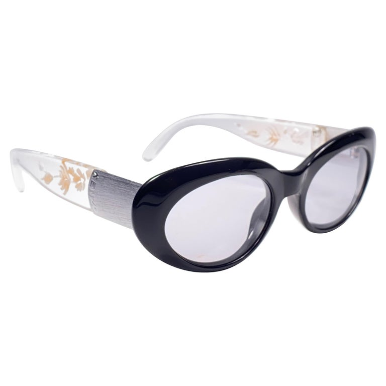 """Vintage Kenzo """" HIBISCUS """" Oval Black Cat Eyed Lenses Sunglasses 1980's For Sale"""