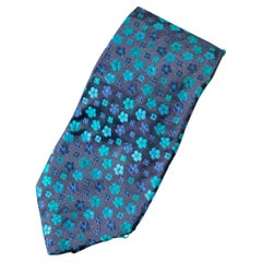 Vintage Kenzo Homme blue all-silk tie with flowers