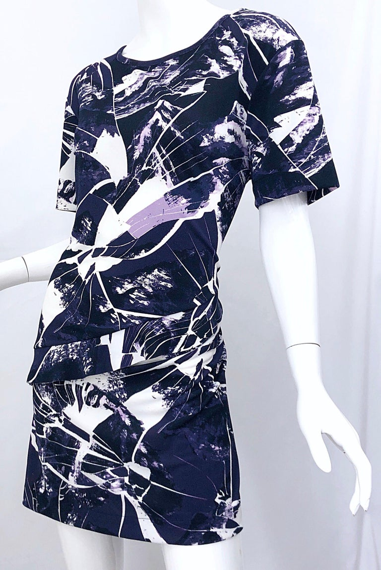 Vintage Kenzo Large Size 1990s Abstract Print Navy Blue + Purple 90s Mini Dress For Sale 5