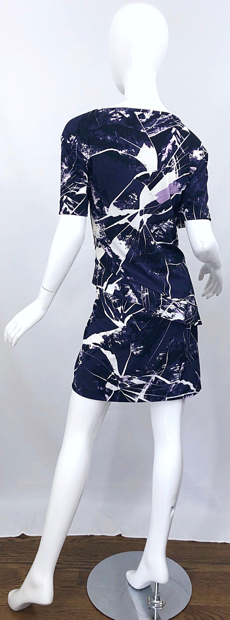 Vintage Kenzo Large Size 1990s Abstract Print Navy Blue + Purple 90s Mini Dress For Sale 6