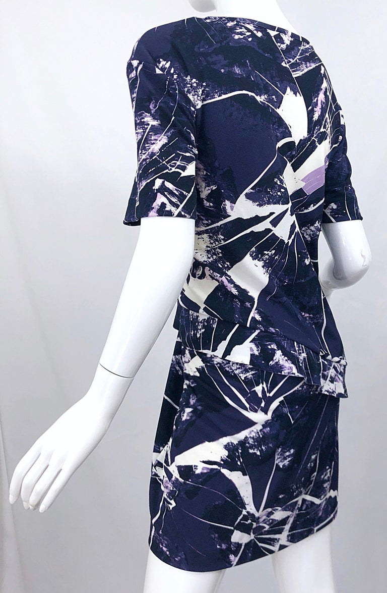 Vintage Kenzo Large Size 1990s Abstract Print Navy Blue + Purple 90s Mini Dress For Sale 8