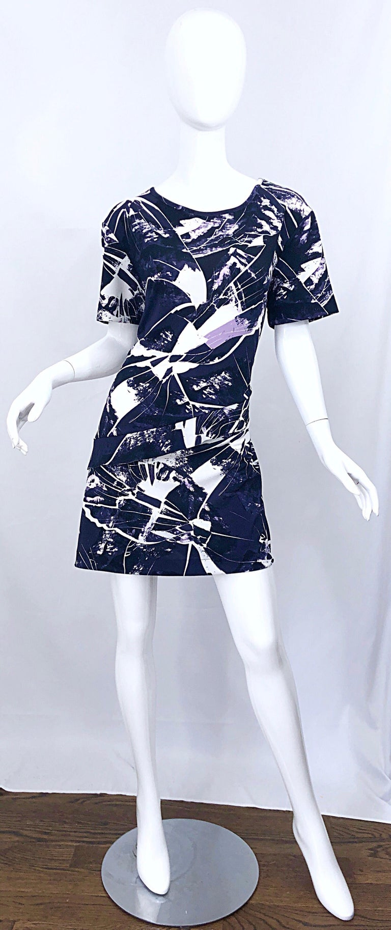 Vintage Kenzo Large Size 1990s Abstract Print Navy Blue + Purple 90s Mini Dress For Sale 9