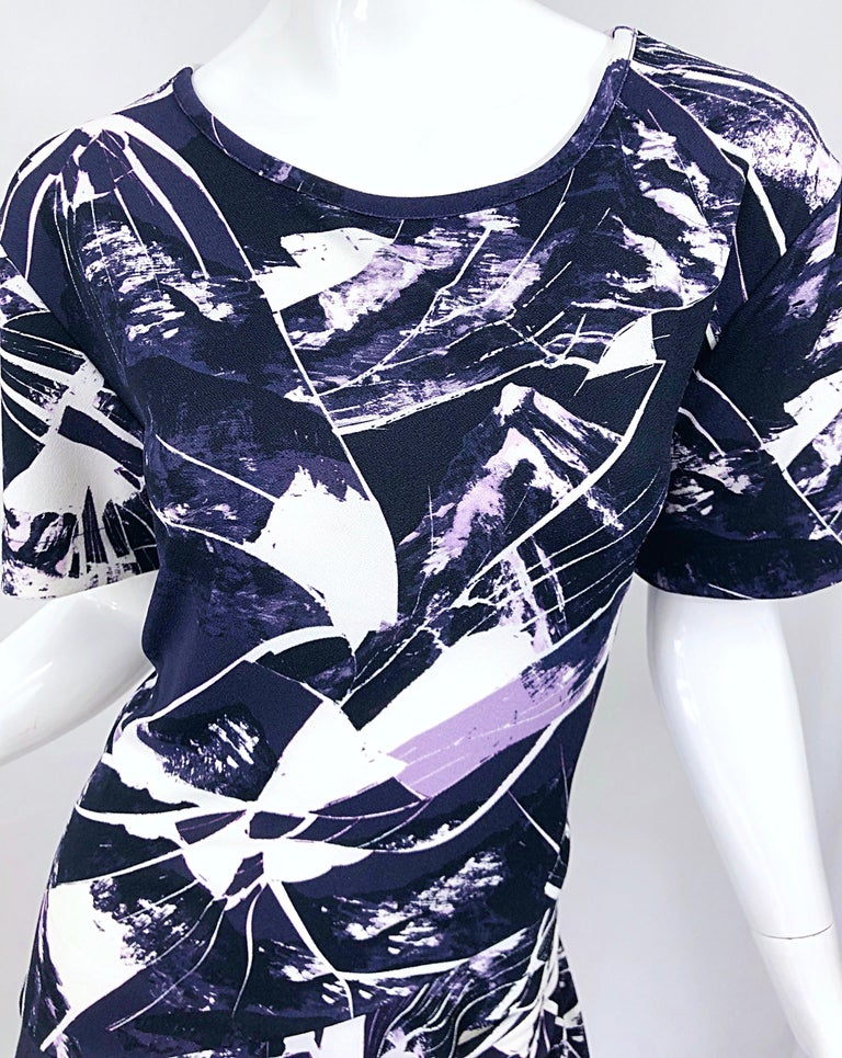 Black Vintage Kenzo Large Size 1990s Abstract Print Navy Blue + Purple 90s Mini Dress For Sale