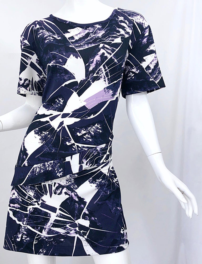 Vintage Kenzo Large Size 1990s Abstract Print Navy Blue + Purple 90s Mini Dress For Sale 2
