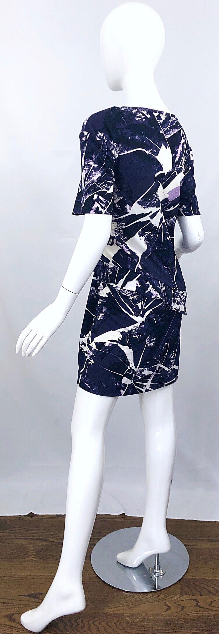 Vintage Kenzo Large Size 1990s Abstract Print Navy Blue + Purple 90s Mini Dress For Sale 3