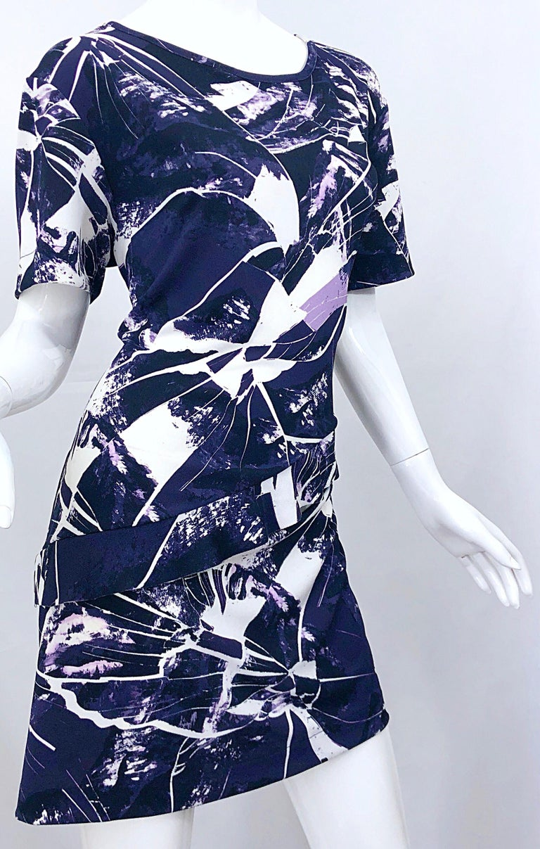 Vintage Kenzo Large Size 1990s Abstract Print Navy Blue + Purple 90s Mini Dress For Sale 4