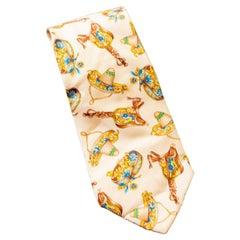 Vintage Kenzo light beige tie in 100% silk