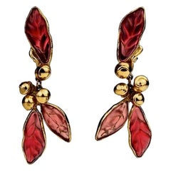 Vintage KENZO PARIS Pearl Lucite Leaves Dangling Earrings