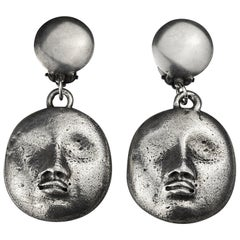 Vintage KENZO PARIS Sculptured Face Dangling Earrings