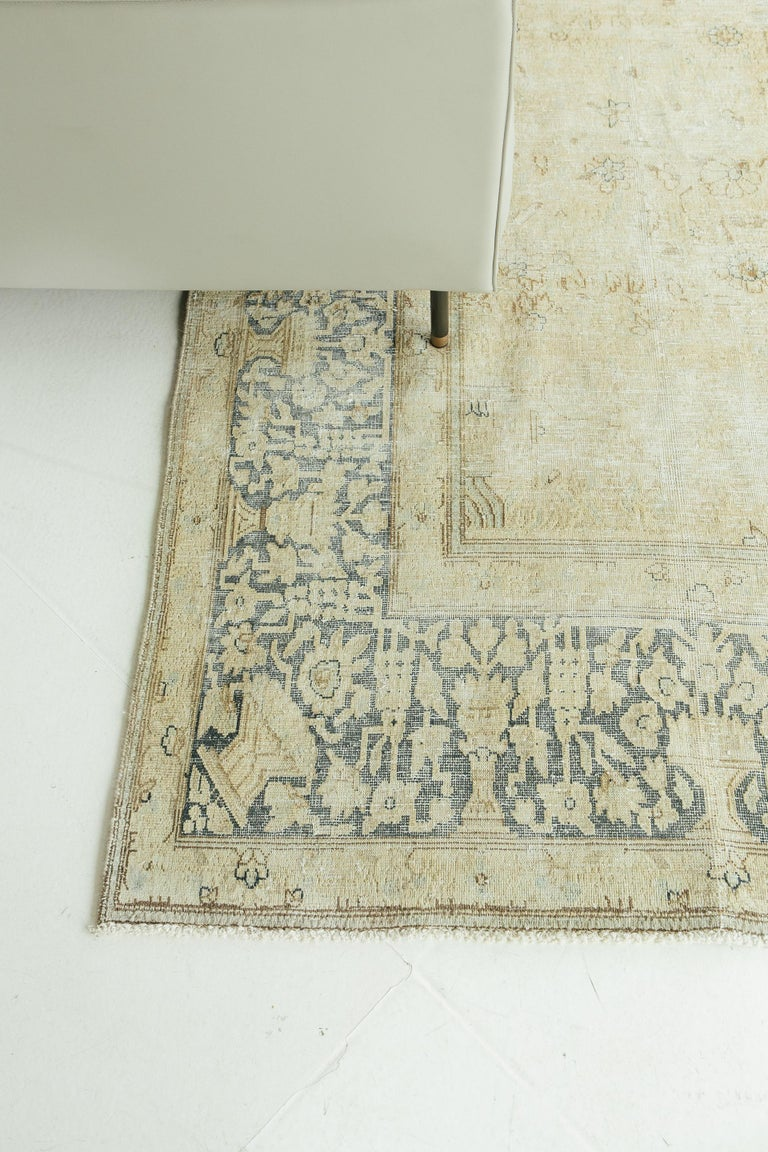 Vintage Kerman Distressed Rug In Good Condition For Sale In WEST HOLLYWOOD, CA