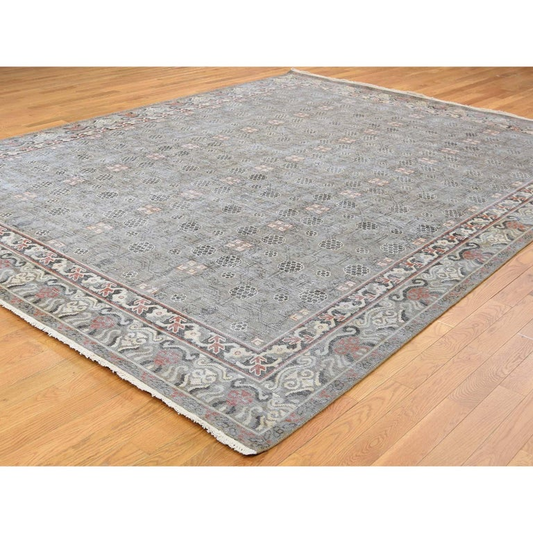 Hand-Knotted Vintage Khotan with Pomegranate Design Zero Pile Oriental Rug For Sale