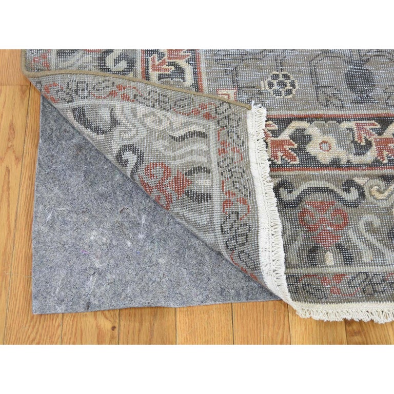 Vintage Khotan with Pomegranate Design Zero Pile Oriental Rug In New Condition For Sale In Carlstadt, NJ