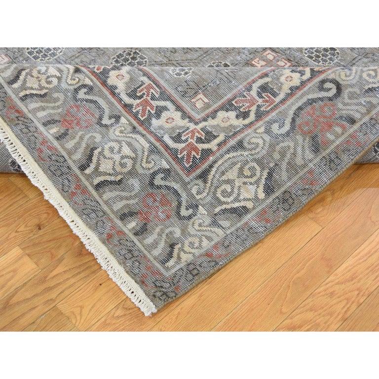 Wool Vintage Khotan with Pomegranate Design Zero Pile Oriental Rug For Sale