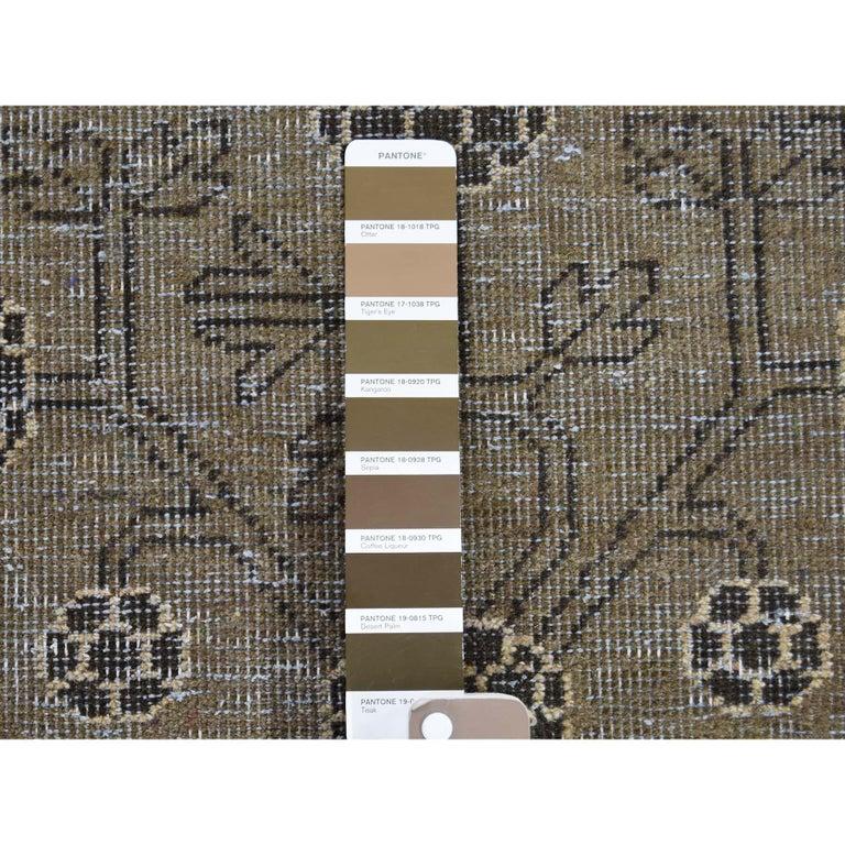 Vintage Khotan with Pomegranate Design Zero Pile Oriental Rug For Sale 1