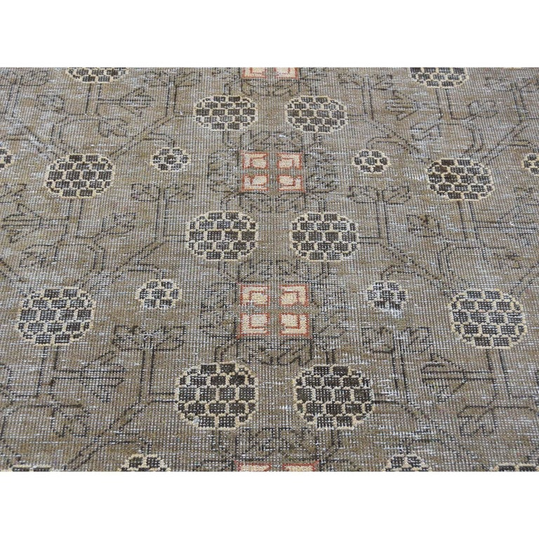 Vintage Khotan with Pomegranate Design Zero Pile Oriental Rug For Sale 2