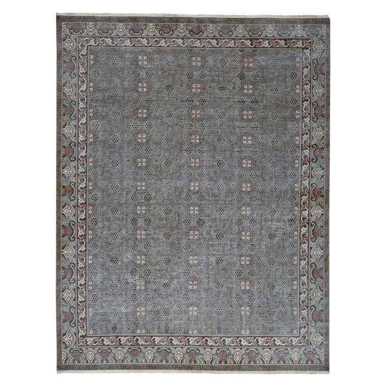 Vintage Khotan with Pomegranate Design Zero Pile Oriental Rug For Sale