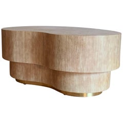 Vintage Kidney Coffee Table Wrapped in a Natural Linen