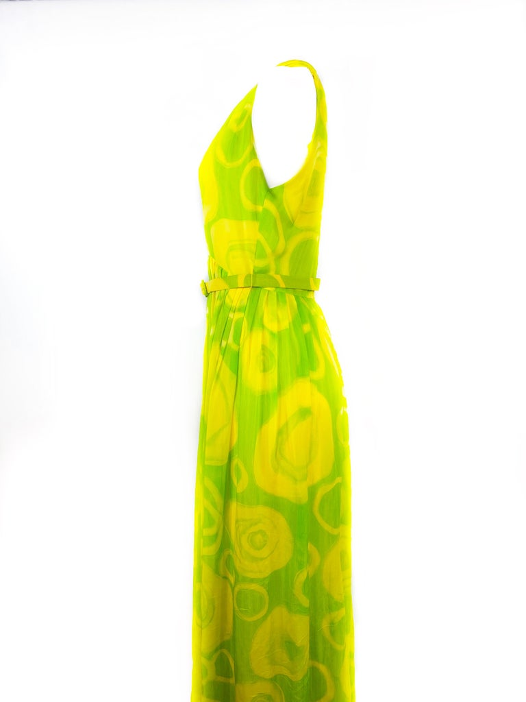 Orange Vintage KIKI HART Yellow and Green Sleeveless Maxi Dress w/ Belt  For Sale