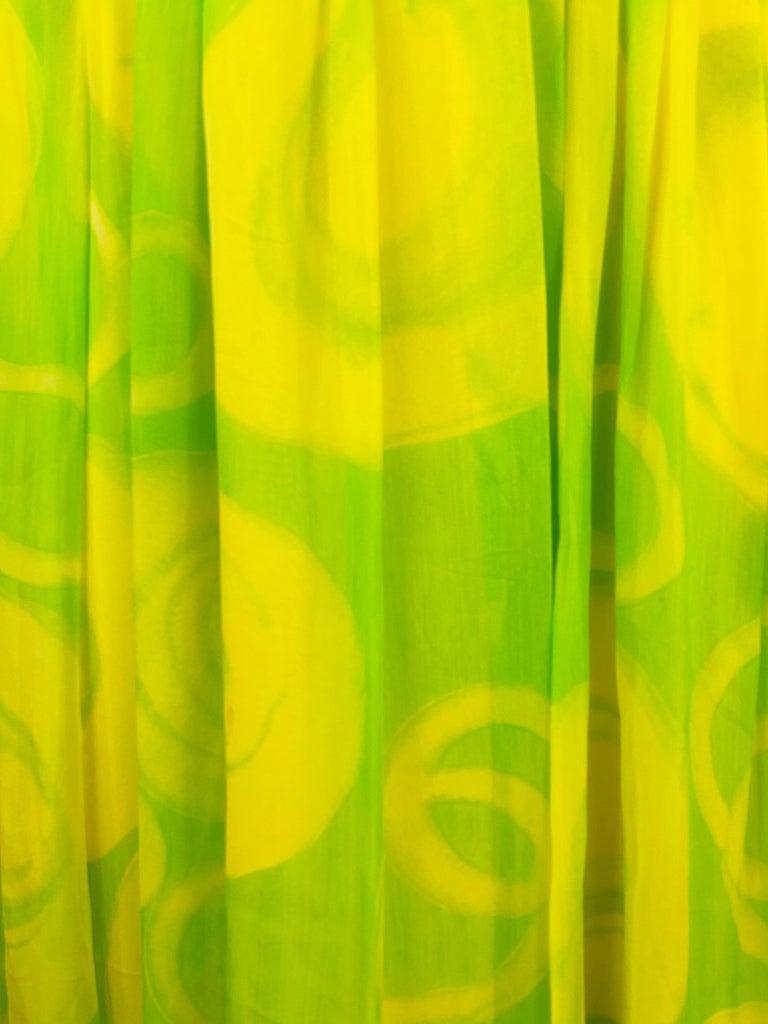 Vintage KIKI HART Yellow and Green Sleeveless Maxi Dress w/ Belt  For Sale 1