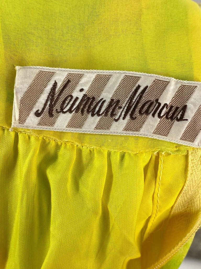 Vintage KIKI HART Yellow and Green Sleeveless Maxi Dress w/ Belt  For Sale 3