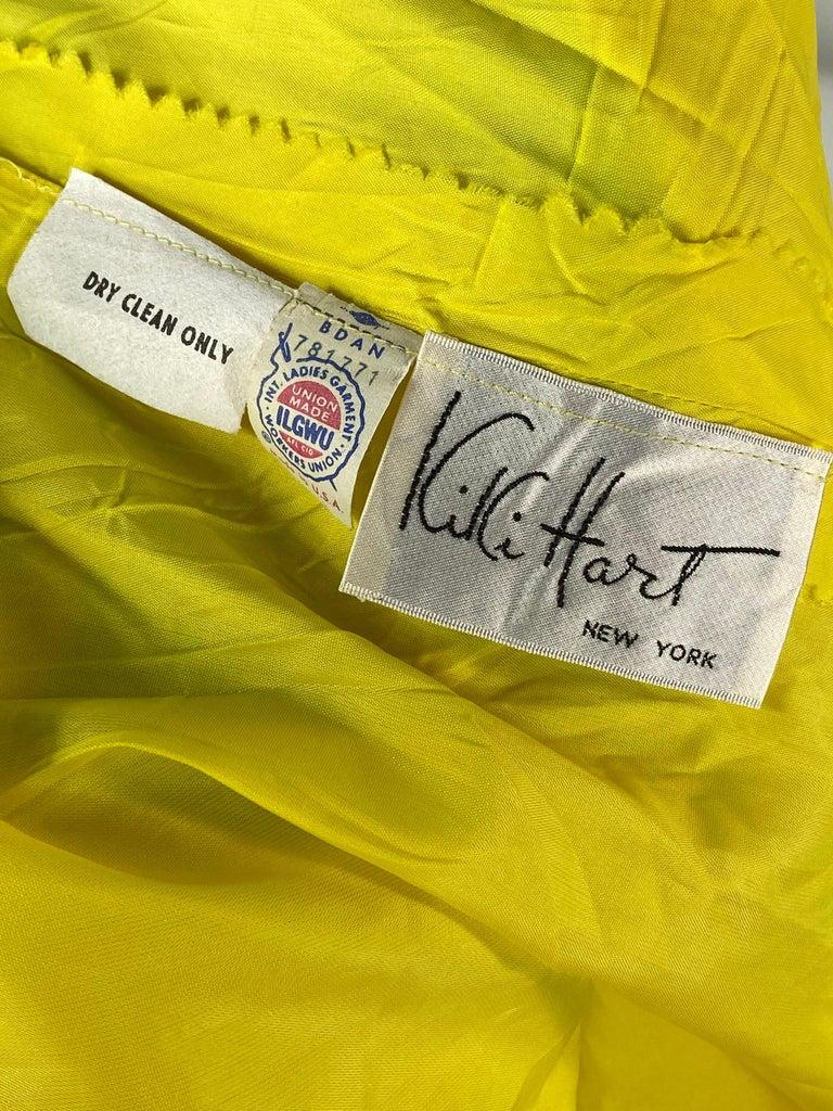 Vintage KIKI HART Yellow and Green Sleeveless Maxi Dress w/ Belt  For Sale 4