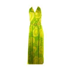 Vintage KIKI HART Yellow and Green Sleeveless Maxi Dress w/ Belt