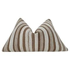 """Vintage Kilim Berber Tribal Pillow / Brown, Taupe & Sand Stripe / """"in stock"""""""